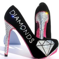 "Pink & Black Crystal ""Diamond"" Heels"