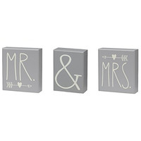 Bride & Groom - Mr. & Mrs. Decorative Box Sign Set