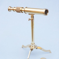 Solid Brass Telescope on Stand