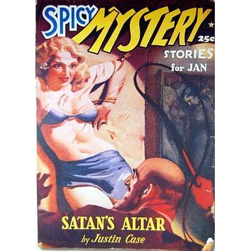 Pulp Fiction Novel Exploitation Art Poster Spicy Mystery Satan'S Altar 27inx40in