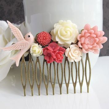 Bridal Wedding Spring Floral Flower Collage Hair Comb. Ivory Rose, Pink Lotus, Red Star Bouquet Blossoms, Pink Swallow Bird Hair Accessory