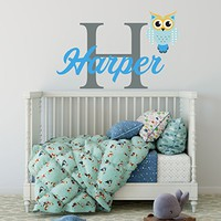 "Wall Decal Personalized Boys Initial Name Vinyl Sticker Owl Colorful Decals Custom Name Nursery Decor Kids Room Childrens Bedroom NS2009 (17"" Tall (Wide depends on name))"