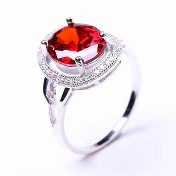Pigeon Blood Red Ruby Ring Pure Solid 925 Sterling Silver Ruby Jewelry Square Cut Promotion Engagement Wedding Ring Women 2016