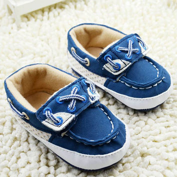 Infant Baby Boys Blue Soft Sole Crib Shoes Sneakers Size Newborn to 18 Months NW