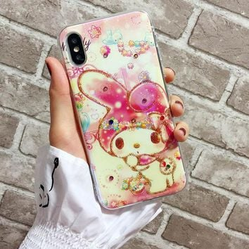 Cute Lovely Girl Models Cartoon Hello Kitty Pattern Case for iPhone X Glitter Bling 3D Blue Laser Case for iPhone 8 7 6s 6 Plus