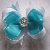 Girls teal hairbow, toddler boutique bows, Mini stacked hair bow, loopy hair bows, shabby chic hair clip, baby girl clippies, boa feathers
