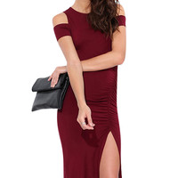 Off-Shoulder Cut-Out Ruched Bodycon Dress