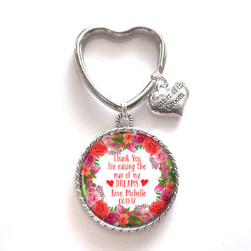 Mother of the Groom Gift Personalized Keychain Keepsake Memento Style 701