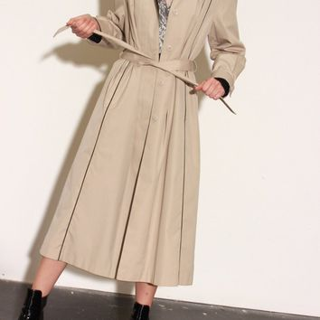 70s Tan Belted & Hooded Trench / M