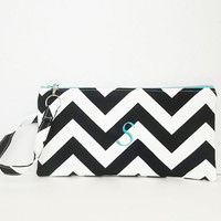 Bridesmaid clutches - Personalized Chevron Pouch with initials - Embroidered Makeup bag