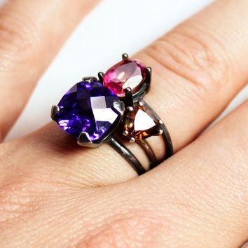 Set of 3 Stacking Rings - Blush Topaz, Amethyst CZ, Topaz CZ and Oxidized Sterling Silver Ring - Black and Pink Ring