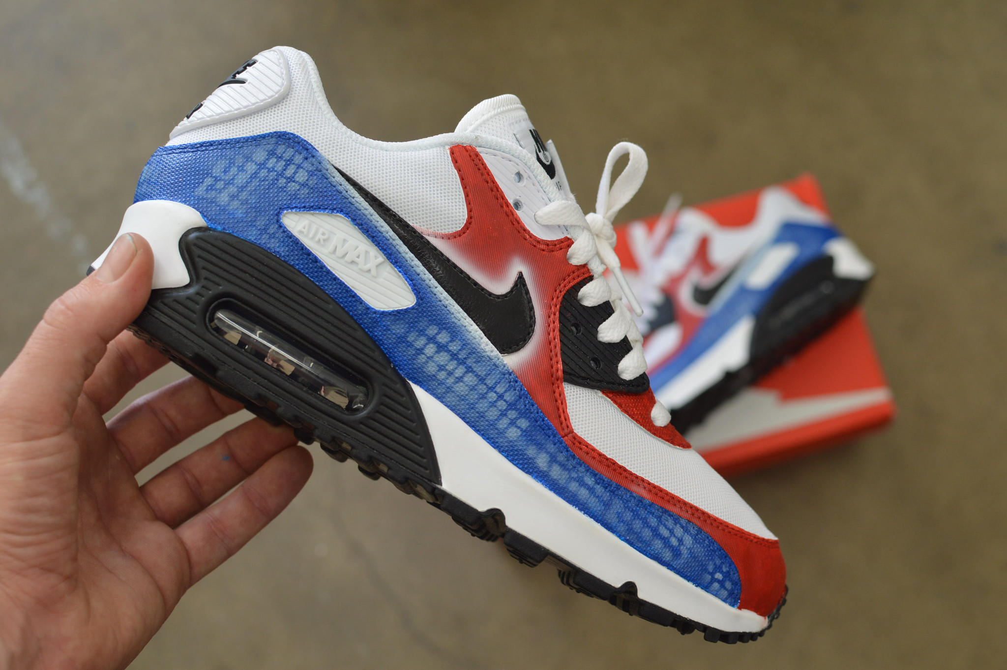 Custom Hand Painted Nike Air Max 90 Running Shoes - America Theme 26aac363fe37
