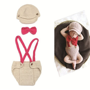 NEW 1set Photography Newborn Infant Baby Boys Girls Knit Crochet Photo Props Hat Overalls Costume Size Fit 0-24 Months = 1958000708