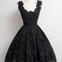 Vintage Little Black Lace Short Prom Dresses, Black Lace Homecoming Dresses