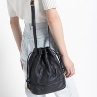 Vintage 90s Black Leather Drawstring Bucket Bag