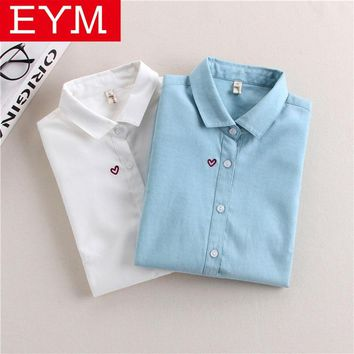 Brand Embroidery Women Blouses New Spring Women Long Sleeve Blouse Cotton Oxford Casual White Shirts Female Tops Clothing