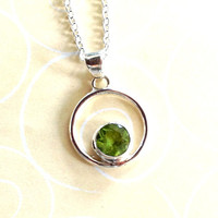 Peridot and sterling silver pendant necklace Birthstone necklace Bali Silver