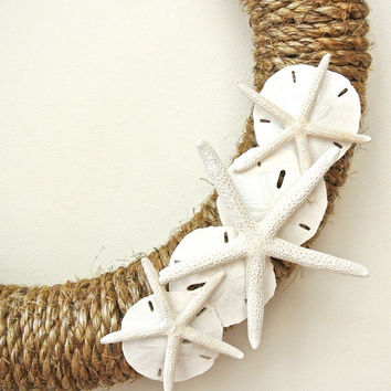 Rope Starfish Wreath- Rustic Nautical Wreath with Starfish and Sand Dollars, Nautical Beach Decor, Destination Wedding, Beach Wedding Decor