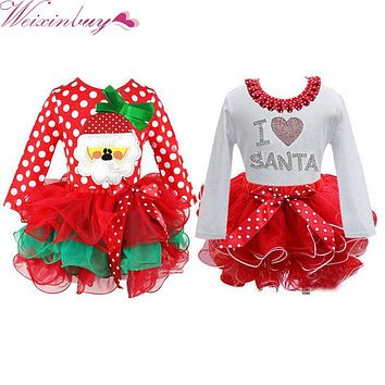 WEIXINBUY Red Christmas Girls Dress Snow Man Xmas Winter Dot Dresses Kids Clothes Cotton Children's Christmas Party Costume