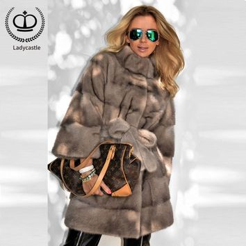2018 Top Fashion Recommend Women Real Mink Fur Coat Stand Collar Thicken Women Real Mink Fur Outwear Jacket Fur Genuine MKW-080