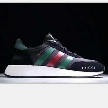 Adidas Retro Iniki GUCCI Runner Boost sports shoes black -white soles-green red line H