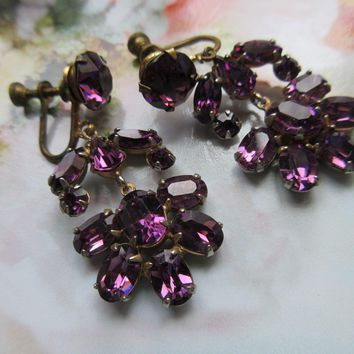 Vintage 1930s Screw Back Earrings Purple Crystal
