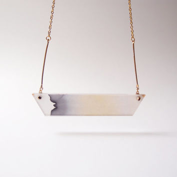 ombre necklace chromatography. gradient black . 14k gold filled chain . acrylic cover . eclipse