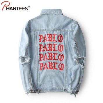 Kanye West Yeezy The Life Of Pablo Man Jacket Denim Letter Print Ripped Hole Vintage Washed Outerwear Fashion Men Brand Clothing
