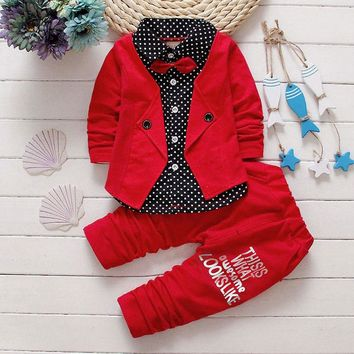 Fashion Formal Newborn Baby Boy Set Infant Clothes Spring Warm Outerwear Sport Party Kids Baby Boy Clothing Sets High Qualaity