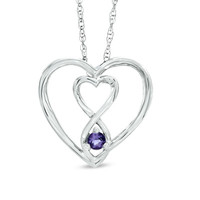 3.0mm Amethyst Infinity Twist Heart Pendant in Sterling Silver