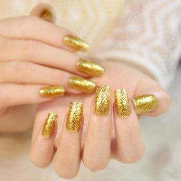 24pcs Gold Bling Finished UV Fake Nails Square Art Tips Acrylic full cover False Nail With Glue Sticker Z339