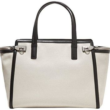 Salvatore Ferragamo White Canvas Leather Trim Large Verve Tote Bag