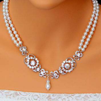 Pearl Bridal Necklace Wedding Jewelry Swarovski Pearl Crystal Necklace Pearl Jewelry Multi Strand Necklace Gatsby Necklace AMENDINE