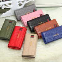 """""""Gucci"""" Women Multi-card Bit Purse Fashion Double G Logo Letter Embossed Long Section Three Fold Wallet"""