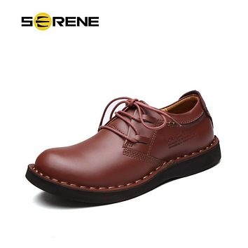SERENE Brand 2017 Man Shoes Leather Tooling Shoes Size 38~44 Men Casual Shoes Lace-Up Boots Men Waterproof Shoes RL-7802