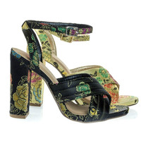 Nafisa Black Peony by Delicious, Chunky Block Heel Dress Sandal, Peony Oriental Russian Embroidered Stitch