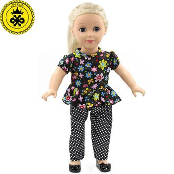 Retro Clothes for Dolls American Doll Best Gift for Girls Dolls Accessories 18 inch Floral Shirt Trousers MG-044