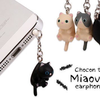 Cute Cheese Cats 3.5mm Anti dust Dirt-resistant Earphone Jack Plug Adapter to Phone Stopper Cap for Iphone 5 5s 6 6S