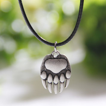 Bear Paw Necklace Whippet Dog Lover Necklaces & Pendants Silver Women Body Jewlery Charm Statement Both Sides Christmas Gift
