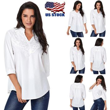Summer Womens Casual Lace V Neck 3/4 Sleeve Tops Blouse Tunic Top Tee T-Shirt US