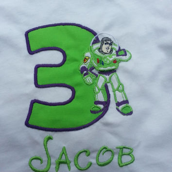 Green and purple Buzz Lightyear Disney inspired birthday shirt or Onesuit with number and monogram