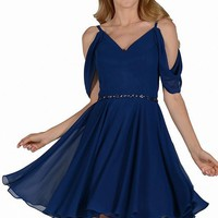 navy chiffon formal homecoming dress  #poly 8190