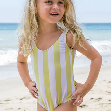 Lolli Sweetheart - Bow Back Babykini One Piece | Mellow Yellow Stripes