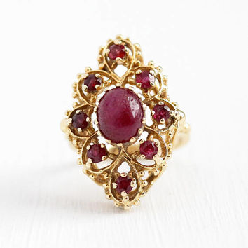 Vintage Ruby Ring - 14k Yellow Gold Genuine Ruby Statement - 1970s Size 7 1/4 Retro Pink Red Gem July Birthstone Cocktail Fine Jewelry