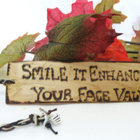 Wood Burned Cedar Bookmark Smile it Enhances your by KnottyNotions