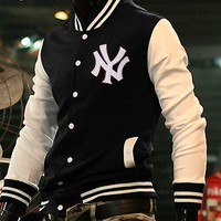 New York College Baseball Letterman jacket Black