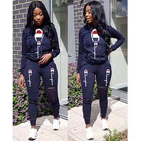 Champion Hot Sale Women Print Long Sleeve Hooded Top Pants Set Two-Piece Sportswear Black
