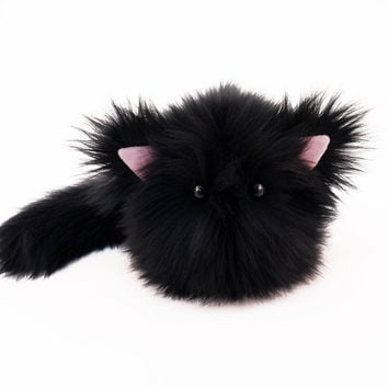 Stuffed Cat Stuffed Animal Cute Plush Toy Cat Kawaii Plushie Poe the Black Kitty Cat Faux Fur Toy Medium 5x8 Inches