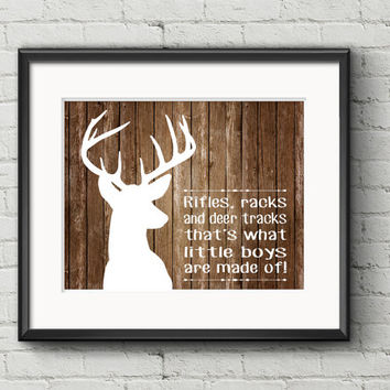 White Deer With Antlers Silhouette On Rustic Aged Wood Rifles Racks Deer Tracks Little Boys Quote - Art Print Gift Item Home Decor