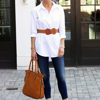 White Shirtdress/Tunic- Michael Stars Shirtail Tunic-$118.00 | Hand In Pocket Boutique